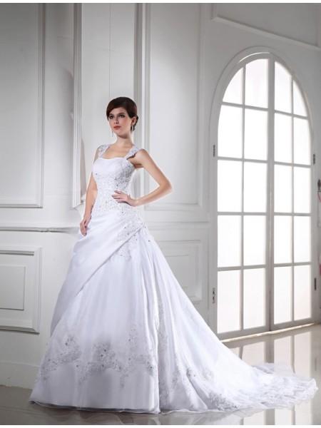 Ball Gown Beading Sleeveless Long Satin Organza Wedding Dresses