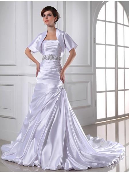Trumpet/Mermaid Beading Strapless Sleeveless Applique Elastic Woven Satin Wedding Dresses