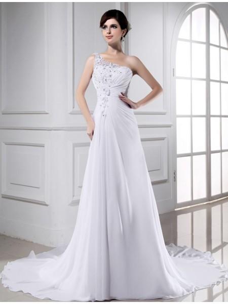 A-Line/Princess Beading One-shoulder Sleeveless Long Chiffon Wedding Dresses