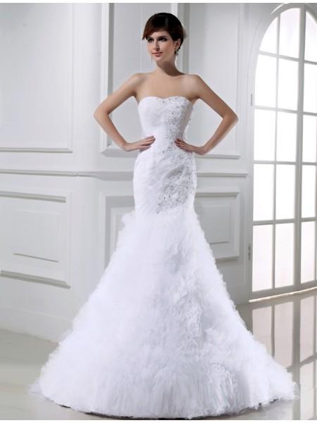 Trumpet/Mermaid Beading Sleeveless Tulle Long Wedding Dresses