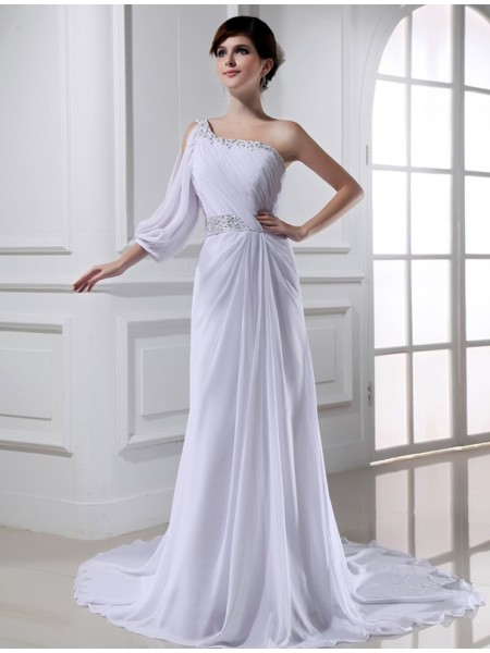 A-Line/Princess Beading One-shoulder One-sleeve Chiffon Wedding Dresses