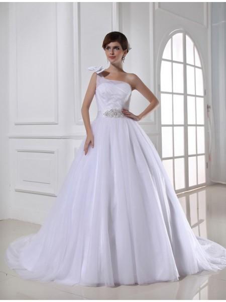 Ball Gown Beading One-shoulder Sleeveless Satin Tulle Wedding Dresses