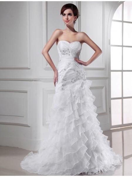 Trumpet/Mermaid Beading Sweetheart Sleeveless Applique Organza Wedding Dresses