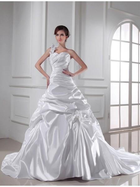 A-Line/Princess One-shoulder Sweetheart Sleeveless Long Pleats Elastic Woven Satin Wedding Dresses