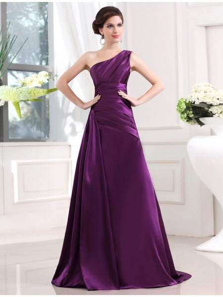 A-Line/Princess One-shoulder Sleeveless Elastic Woven Satin Pleats Long Dresses