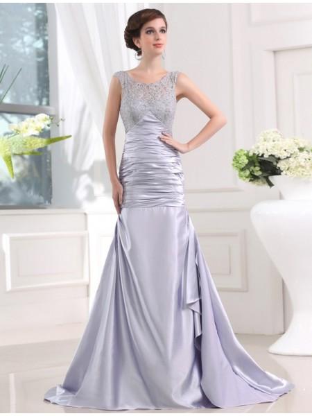 Trumpet/Mermaid Beading Sleeveless Elastic Woven Satin Long Dresses
