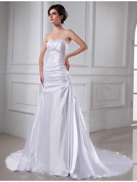 A-Line/Princess Beading Applique Sleeveless Elastic Woven Satin Wedding Dresses