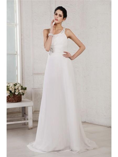 A-Line/Princess One-Shoulder Sleeveless Beading Applique Long Chiffon Wedding Dresses
