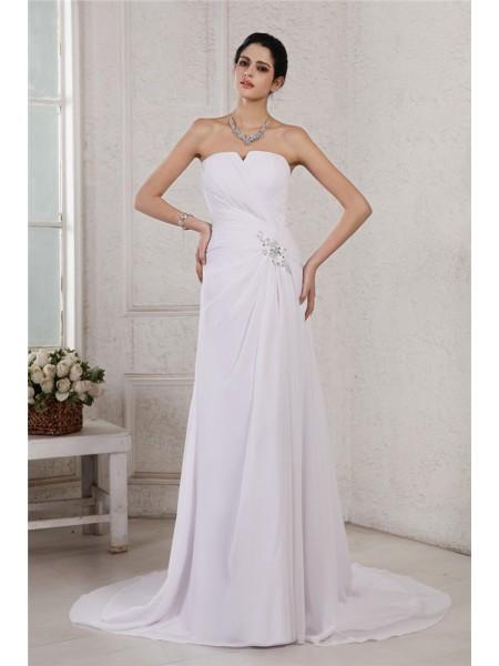 Sheath/Column Strapless Sleeveless Beading Applique Pleats Long Chiffon Wedding Dresses