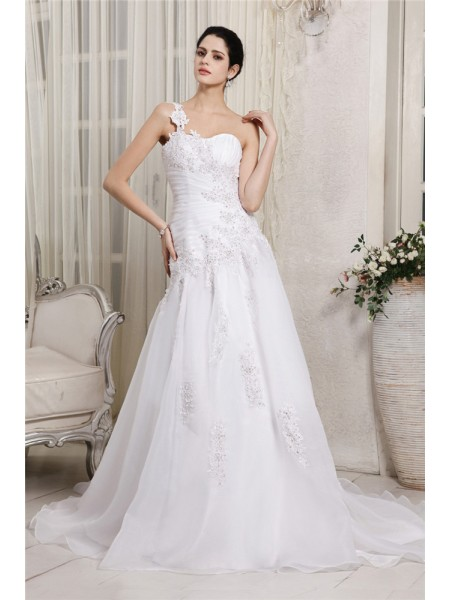 A-Line/Princess One-Shoulder Sleeveless Beading Applique Long Organza Wedding Dresses