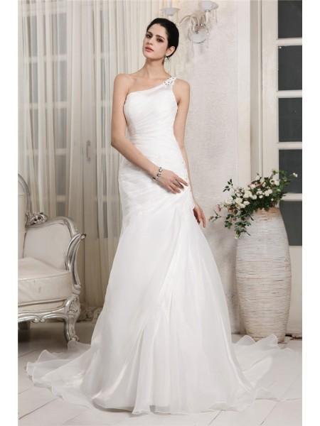 Trumpet/Mermaid One-Shoulder Sleeveless Beading Applique Long Organza Wedding Dresses