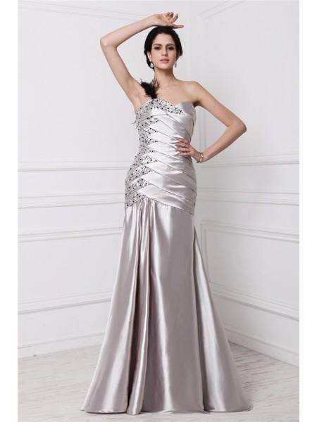 A-Line/Princess Sweetheart Sleeveless Beading Pleats Long Elastic Woven Satin Dresses