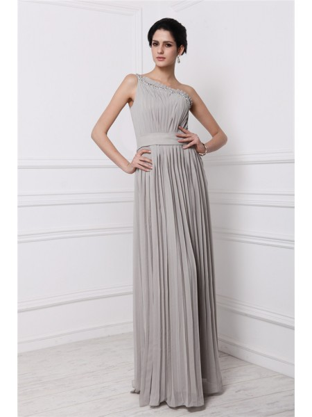 Sheath/Column One-Shoulder Sleeveless Beading Pleats Long Chiffon Dresses