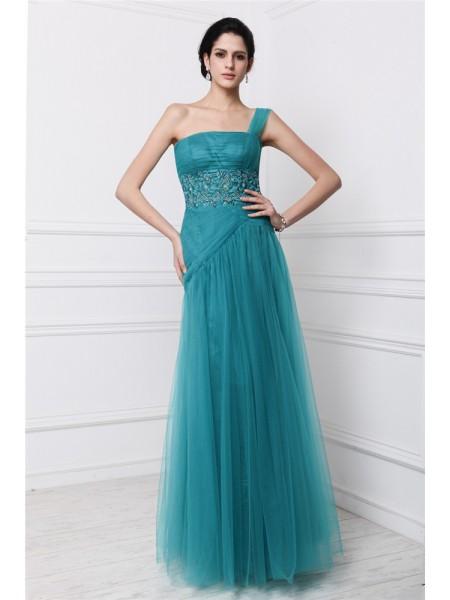 Sheath/Column One-Shoulder Sleeveless Beading Applique Long Net Dresses