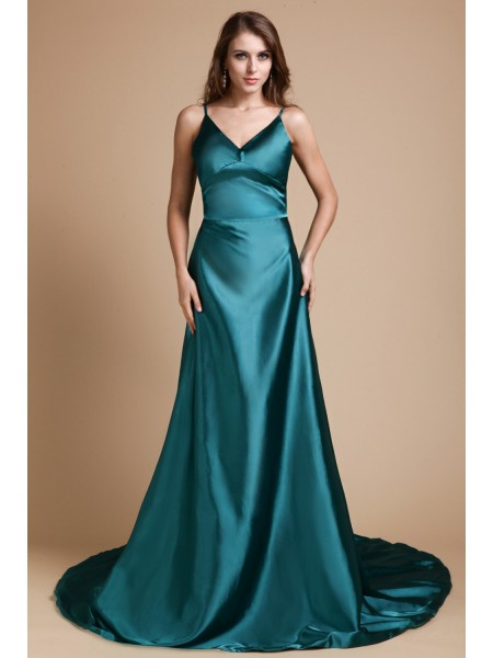 A-Line/Princess Spaghetti Straps Sleeveless Long Ruffles Elastic Woven Satin Dresses