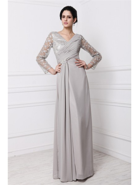 Sheath/Column V-neck Long Sleeves Lace Long Chiffon Dresses