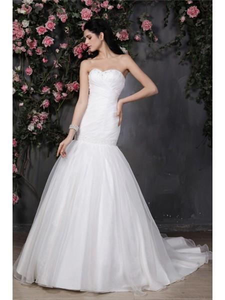 Trumpet/Mermaid Sweetheart Sleeveless Beading Pleats Ruffles Long Organza Wedding Dresses