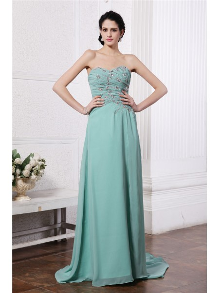 Sheath/Column Sweetheart Sleeveless Rhinestone Beading Long Chiffon Dresses