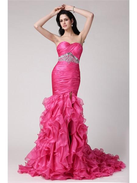 Trumpet/Mermaid Sweetheart Sleeveless Rhinestone Long Organza Dresses