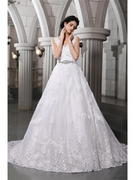 A-Line/Princess V-neck Sleeveless Beading Applique Long Organza Wedding Dresses