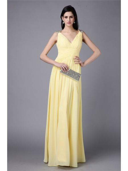 Sheath/Column V-neck Sleeveless Beading Long Chiffon Dresses