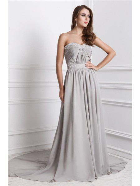 A-Line/Princess Sweetheart Sleeveless Long Beading Chiffon Dresses
