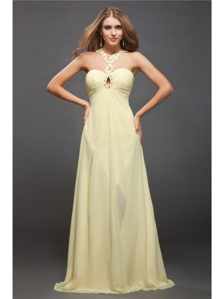 Sheath/Column Halter Beading Sleeveless Long Chiffon Dresses