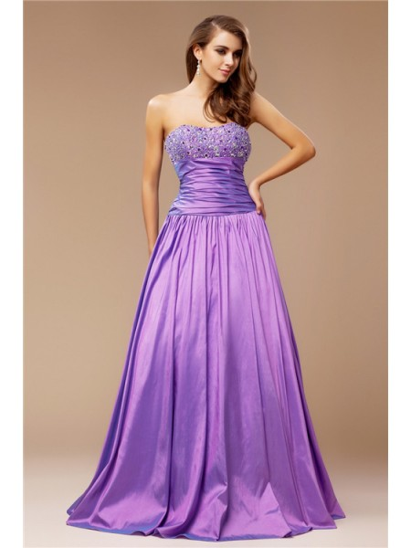 A-Line/Princess Strapless Beading Sleeveless Long Taffeta Dresses