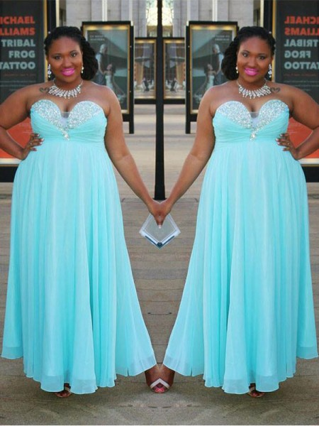 A-Line/Princess Sweetheart Sleeveless Beading Floor-Length Chiffon Plus Size Dresses