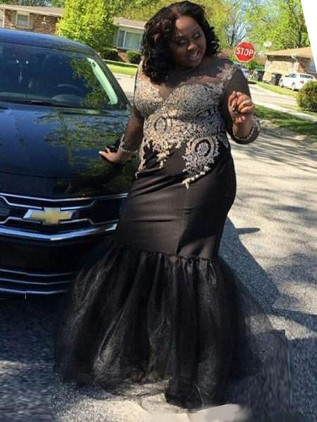 Trumpet/Mermaid Sheer Neck Long Sleeves Applique Floor-Length Tulle Plus Size Dresses