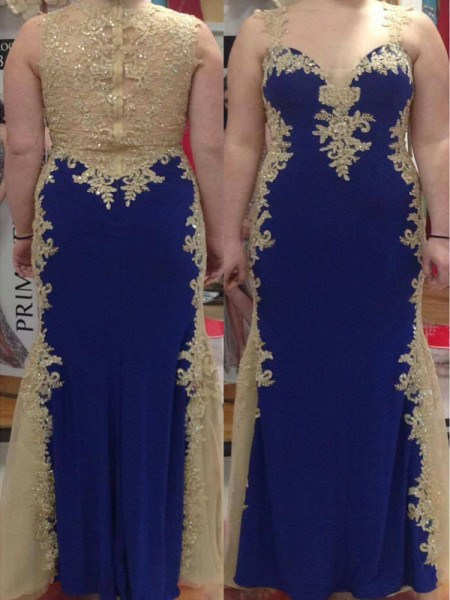 Sheath/Column Straps Sleeveless Applique Floor-Length Elastic Woven Satin Plus Size Dresses