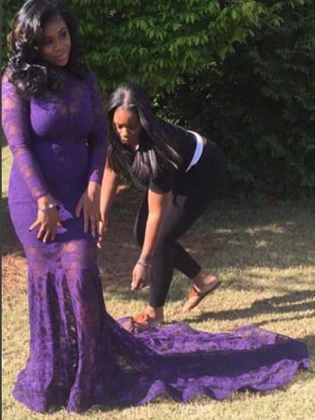 Trumpet/Mermaid Sheer Neck Long Sleeves Lace Court Train Lace Plus Size Dresses