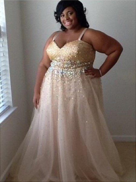 A-Line/Princess Spaghetti Straps Sleeveless Beading Floor-Length Tulle Plus Size Dresses