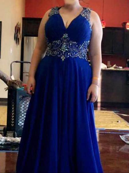 A-Line/Princess V-neck Sleeveless Beading Floor-Length Chiffon Plus Size Dresses
