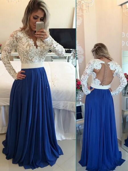A-Line/Princess V-neck Long Sleeves Chiffon Floor-Length Pearl Dresses