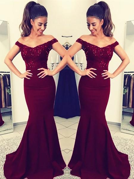 Trumpet/Mermaid Off-the-Shoulder Sleeveless Floor-Length Lace Satin Dresses