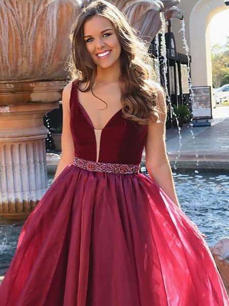 A-Line/Princess V-neck Sleeveless Floor-Length Beading Organza Dresses