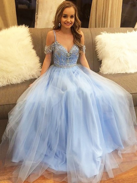 A-Line/Princess Off-the-Shoulder Floor-Length Tulle Sleeveless Beading Dresses