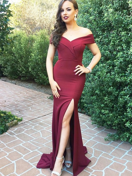 A-Line/Princess Off-the-Shoulder  Floor-Length Ruched Satin Dresses
