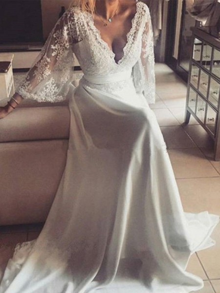 A-Line/Princess V-neck Long Sleeves Sash/Ribbon/Belt Court Train Lace Wedding Dresses