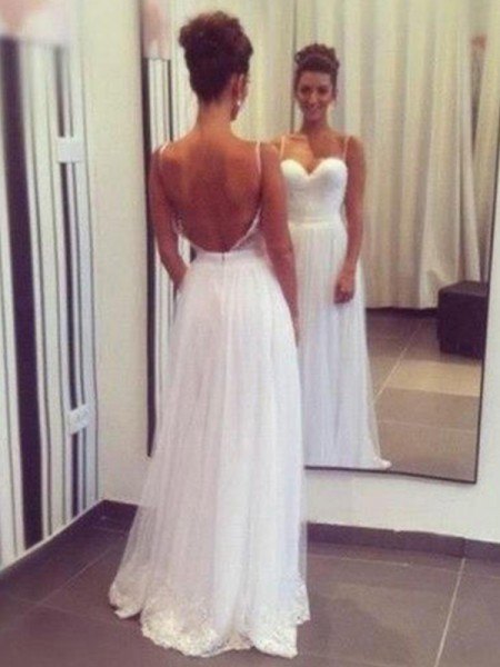 A-Line/Princess Sweetheart Floor-Length Sleeveless Ruffles Tulle Wedding Dresses