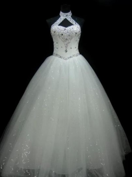 Ball Gown Halter Sleeveless Floor-Length Beading Sequin Tulle Wedding Dresses