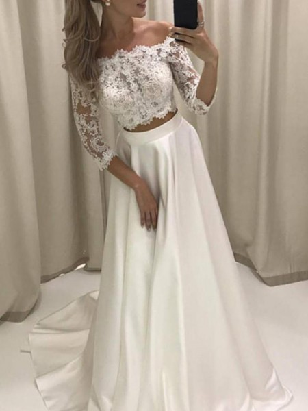 A-Line/Princess 3/4 Sleeves Off-the-Shoulder Court Train Applique Satin Wedding Dresses