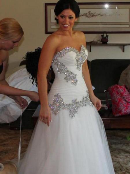 A-Line/Princess Sweetheart Tulle Sleeveless Rhinestone Floor-Length Wedding Dresses