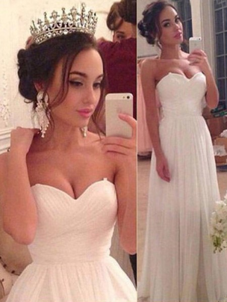 A-Line/Princess Sweetheart Sleeveless Chiffon Ruffles Floor-Length Wedding Dresses