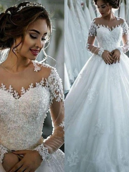 Ball Gown Applique Tulle Scoop Long Sleeves Court Train Wedding Dresses