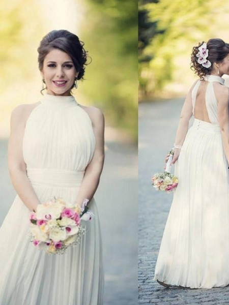 A-Line/Princess Halter Sleeveless Ruffles Tulle Floor-Length Wedding Dresses