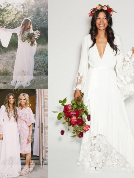 A-Line/Princess V-neck Lace Sash/Ribbon/Belt Chiffon Long Sleeves Floor-Length Wedding Dresses