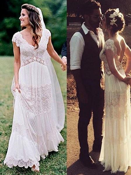 A-Line/Princess Lace V-neck Ruched Short Sleeves Floor-Length Wedding Dresses