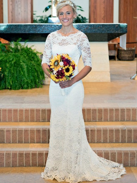 Sheath/Column Lace Ruched Scoop 1/2 Sleeves Sweep/Brush Train Wedding Dresses